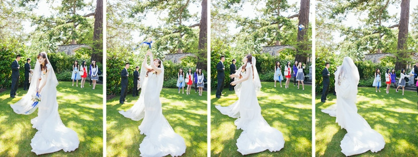 Bouqet toss at garden wedding.