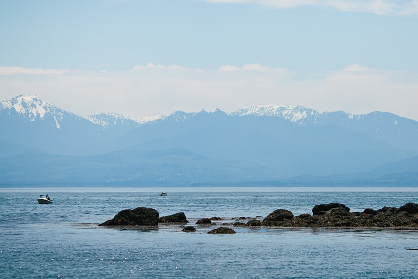 view of mountains from east sooke park beach