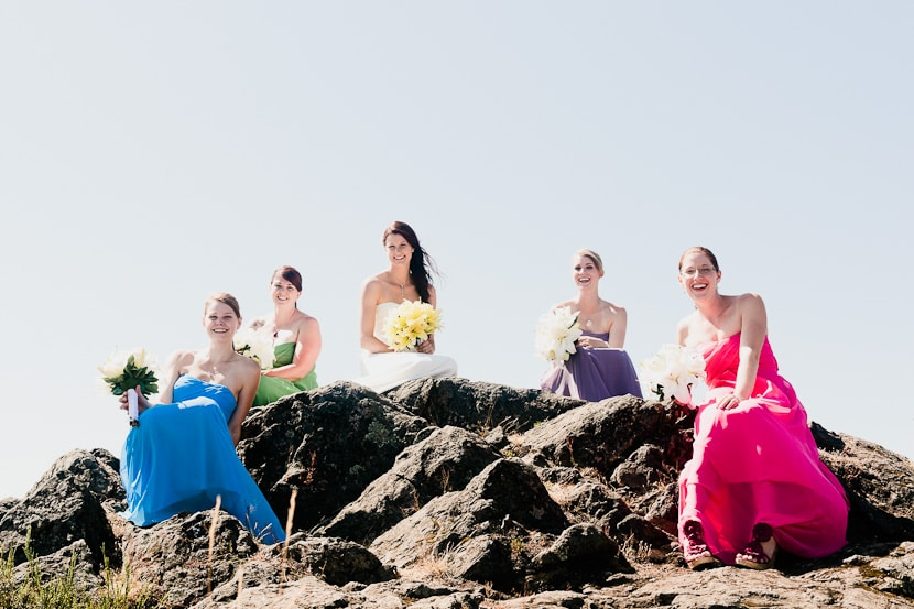 bridal party in rainbow dresses at mt. doug